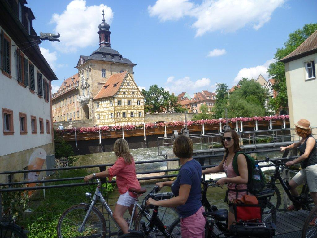 The Old Town Hall in the river attracts many visitors.